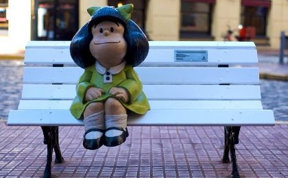 Statue of Mafalda, the most recognised character created by Joaquín Lavado