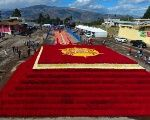 A view shows a floral pyramid of more than 500,000 roses, which scored the Guinness World Record in Tabacundo, Ecuador.