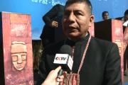 Bolivian foreign minister and Unasur pro-tempore secretariat, Fernando Huanacuni, speaks in an interview regarding U.S. trade and tariffs at Second Ancient Civilizations Forum in La Paz. July 2018