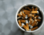 An ash tray with cigarette butts in Hinzenbach, Austria, February 5, 2012