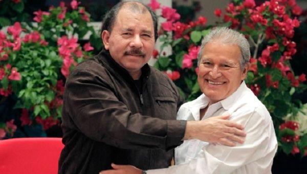 Salvadoran President Salvador Sanchez with his counterpart President Daniel Ortega.