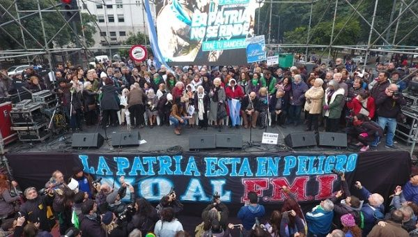 Teachers Unions in Argentina protest during a strike earlier this month on July 10, 2018.