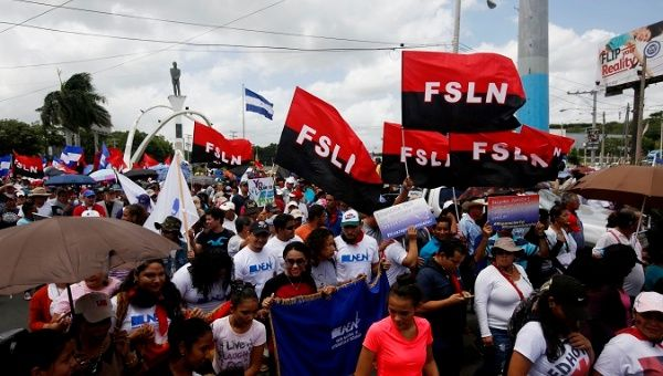 FSLN militants in a demonstration in favor of their government.
