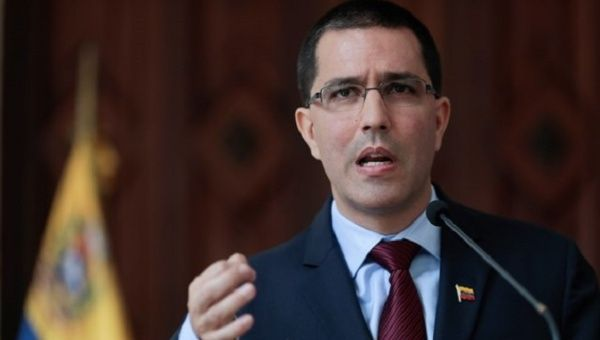 The foreign minister of Venezuela Jorge Arreaza speaks at a news conference.