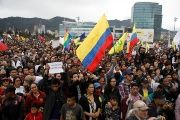 Demonstrators rally on the day of the swearing-in of Colombia's new President Ivan Duque in Bogota, Colombia, urging him to uphold peace accords August 7, 2018