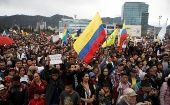 Demonstrators rally on the day of the swearing-in of Colombia