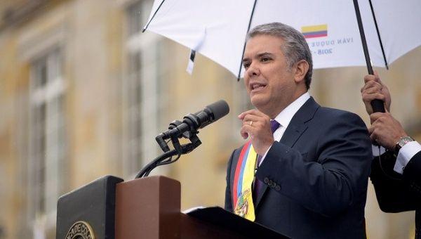 El presidente Ivan Duque durante la ceremonia de juramento.