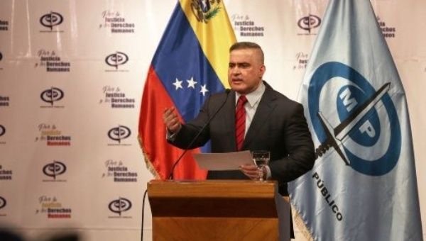 Venezuelan Attorney General Tarek William Saab speaks at a press conference on the assassination attempt.
