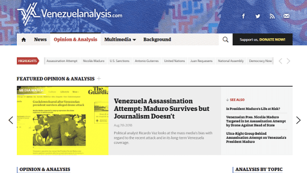 Screen shot of Venezuelanalysis website.