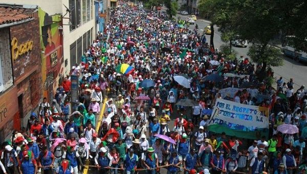 Opposition sectors marched to demand life and peace as Duque was sworn in.