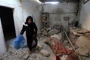 A damaged house where a Palestinian woman and her 18-month-old child were killed in the Gaza Strip, August 9, 2018.