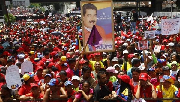 People gather in Caracas streets for a march in rejection of the Assassination Attempt Against Venezuelan President Maduro.