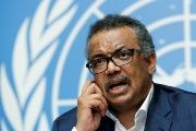 Director-General of the WHO Tedros Adhanom attends a news conference in Geneva