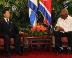 North Korean Vice-Marshal Choe Ryong-hae (L) and Cuban Vice-President Salvador Valdes (R) in Havana, Cuba, August 15.