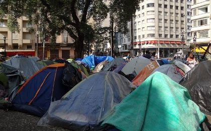 Tents belonging to homeless families in a square in Sao Paulo