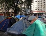 Tents belonging to homeless families in a square in Sao Paulo's downtown, Brazil, June 27, 2018.