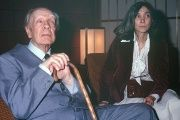 Argentine writer Jorge Luis Borges and his wife, Maria Kodama, during a visit to Japan in 1979.