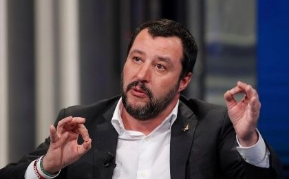 "Northern League leader Matteo Salvini gestures during the television talk show ""Porta a Porta"" in Rome, Italy, January 18, 2018."