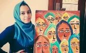 Palestinian teenage artist is denied to go to Europe to present her work.