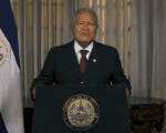 Salvadoren president, Sanchez Ceren During addresses the country on Monday night announcing El Salvador's tightening ties with China. Aug. 20, 2018.