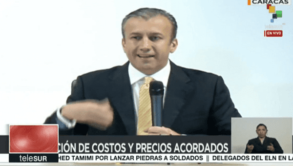Venezuelan vice president of the economy Tareck El Aissami during the press conference.