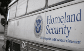 A Homeland Security Immigration and Customs Enforcement (ICE) bus parked outside a federal jail in San Diego, California, U.S. October 19, 2017