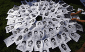 Photos of the 43 missing Ayotzinapa Teacher Training College students at a demonstration in Mexico, October 2014.