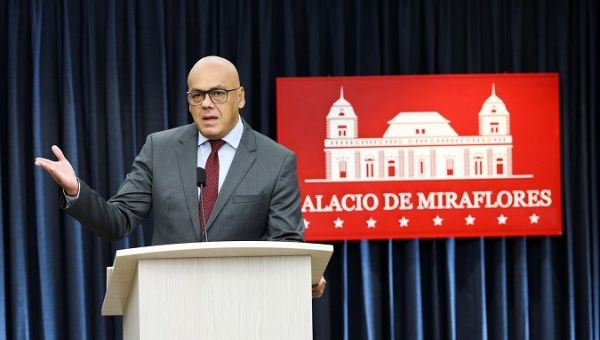 Communications vice-president Jorge Rodriguez during press conference.
