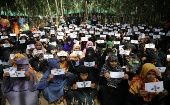 Women refugees demonstrate to demand justice for Myanmar
