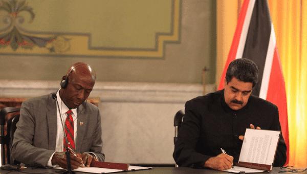 Prime Minister of Trinidad and Tobago Keith Rowley and Venezuelan President Nicolas Maduro.