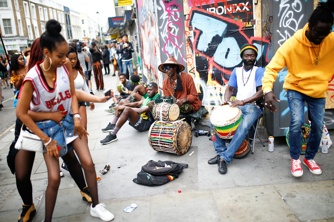 Revellers take part in the Notting Hill Carnival.