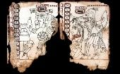 A fragment of the pre-hispanic Mayan Codex of Mexico, previously known as the Grolier Codex.