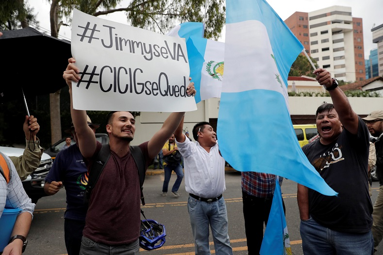 "After the announcement hundreds of Guatemalans, gathered to protest, chanting ""Morales, to court!"" and ""No, Ivan (head of the CICIG) will not go."""