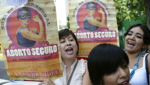 A protest against prison sentences given to six women who had abortions in Mexico City, August 2010.