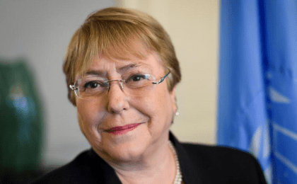 Former Chilean president Michelle Bachelet poses in her office at the Palais Wilson on her first day as new United Nations (UN) High Commissioner for Human Rights in Geneva, Switzerland, September 3, 2018.