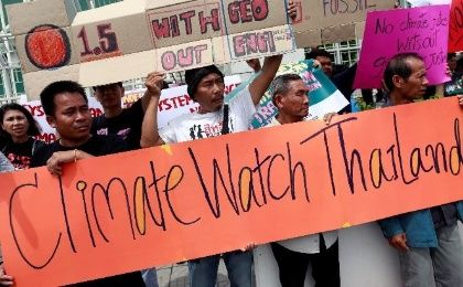 Activists protest UN Climate Change Conference in Bangkok, Thailand.