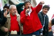 Former Brazilian president and Workers' Party (PT) co-founder, Luiz Inacio Lula da Silva gives a speech with Fernando Haddad.