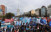 People gather on 9 de Julio avenue to protest against government economic measures in Buenos Aires, September 12, 2018.