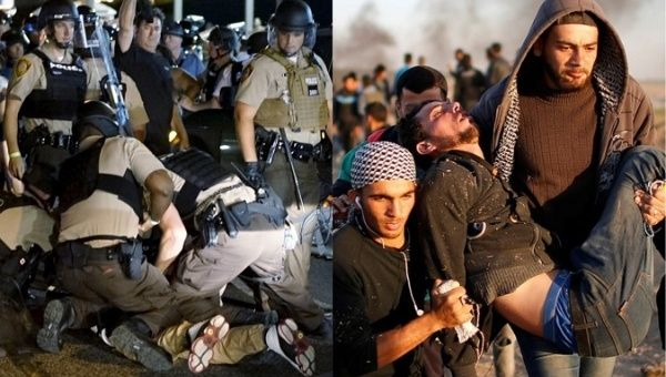 Police arrest protester in Ferguson, U.S. / Palestinian protesters carry man injured by Israeli fire.