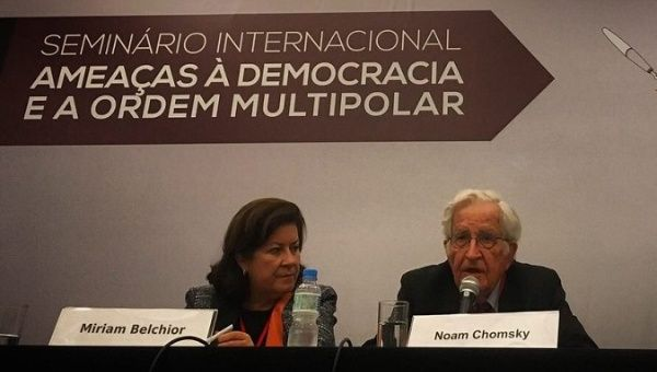 "Noam Chomsky spoke about the ""threats to democracy and the Multipolar Order."""