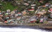 Damaged homes from Hurricane Maria are shown in this aerial photo over the island of Dominica, September 19, 2017.