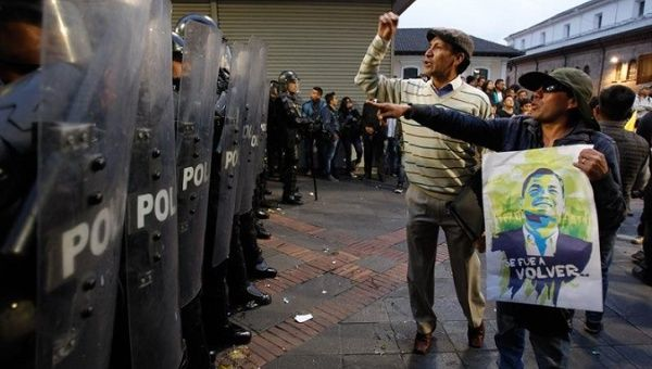 Ecuadoreans protested against the government and in support of former President Rafael Correa on Sept. 13.