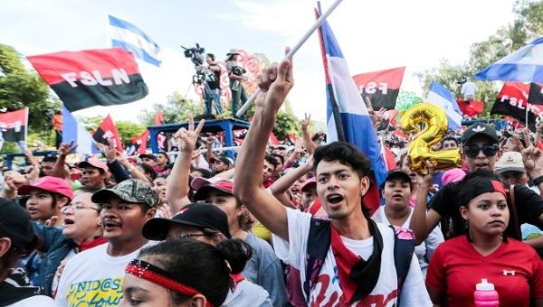 Sandinista youth take part in pro-government demonstrations.