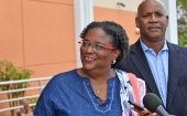 Mia Mottley, the Prime Minister of Barbados, speaks at a press conference.