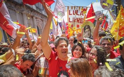 Fernando Haddad, the Workers' Party candidate for the presidency, walks among supporters during a recent election campaign event.