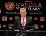 Cuba's President Miguel Diaz-Canel speaks at the Nelson Mandela Peace Summit during the 73rd United Nations General Assembly in New York.