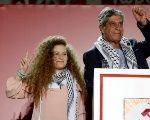 Palestinian teenager Ahed Tamimi attends the annual festival of Greek Communist Youth in Athens.