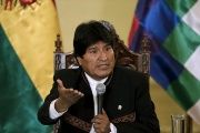 Bolivia's President Evo Morales speaks during a conference at the presidential palace in La Paz, Bolivia, Feb. 22, 2016.