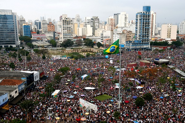 Hundreds of thousands, led by feminist movements, gathered in Sao Paulo to reject Bolsonaro, who