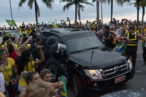 A convoy of cars, transporting Brazil